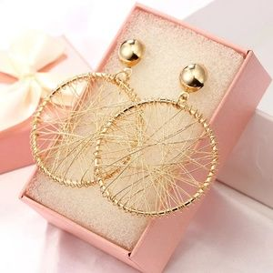 Hollow Geometric Double Round Circle Drop Earrings